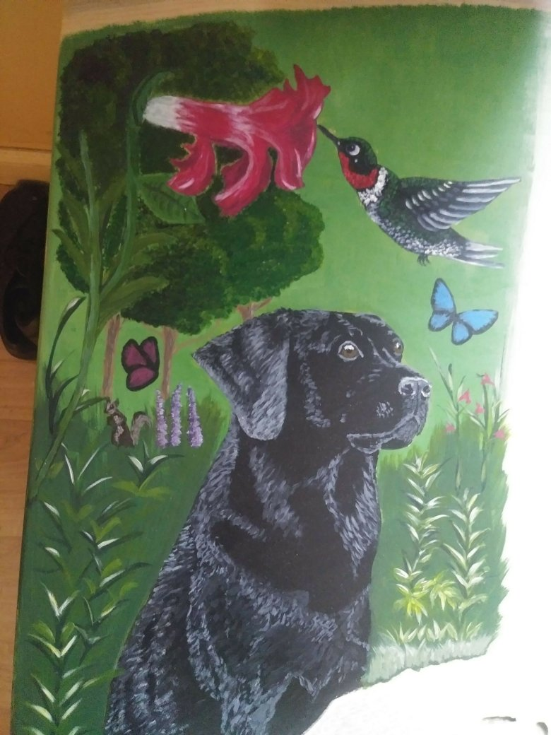 Black Lab on Wood