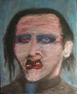 Marilyn Manson oil pastel